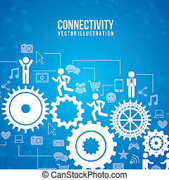 connectivity infographics over blue background vector...