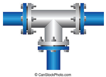Connector - Three way connector of steel pipe on white...