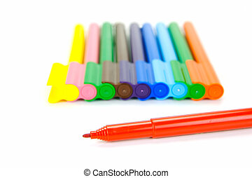 Connector Pens - Marker pens isolated against a white ...