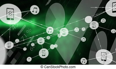 Connectors moving and green smoke on black digital background