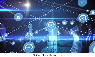 Connectors moving and silhouettes of people standing on a blue digital background