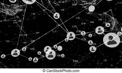 Connectors on black background - Animation of network of ...