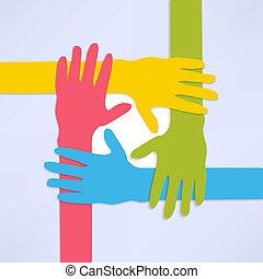 connettere, mani