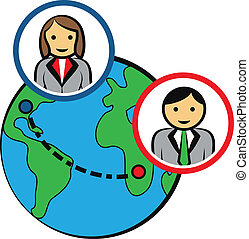 connettere, persone affari, intorno mondo, vettore
