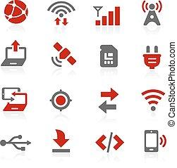 connettività, vettore, icone