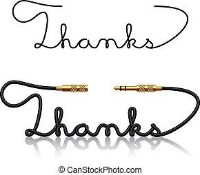 connettori, vettore, cricco, calligrafia, ringraziamento