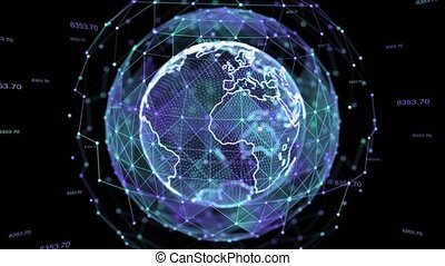connexion, alpha., tourner, boucle, hologramme, terre planète, 4k, animation, noeud