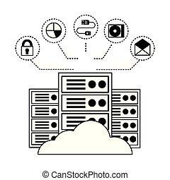 connexion, calculer, centre, nuage, base données