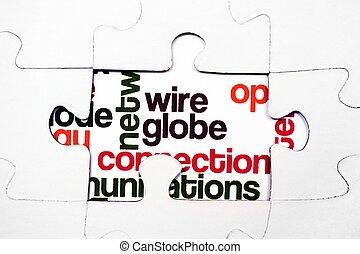 connexion, concept, puzzle, fil