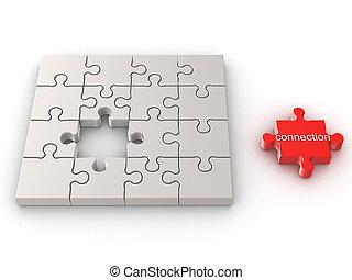 connexion, concept, puzzle