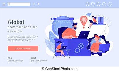 connexion, concept, réseau global, atterrissage, page.