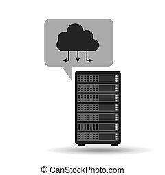 connexion, concept, réseau, nuage, serveur