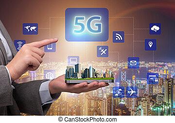 connexion, concept, technologie, 5g, internet