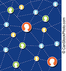 connexion, diagram., réseau, social