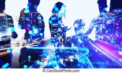 connexion, effects., gens, double, internet, ensemble, collaborer, exposition, bureau., business