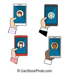 connexion, ensemble, bavarder, icônes