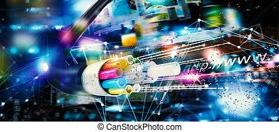 connexion, fibre, internet, jeûne, optique