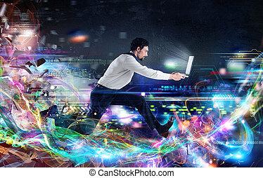 connexion, global, vitesse, internet
