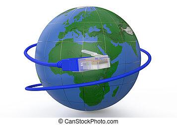 connexion globale, concept, réseau
