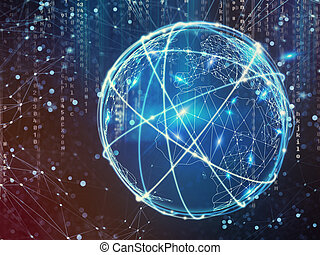 connexion globale, concept, réseau, internet