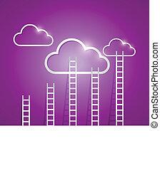 connexion, nuage, illustration, calculer