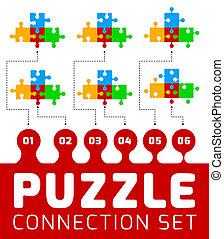 connexion, puzzle, ensemble