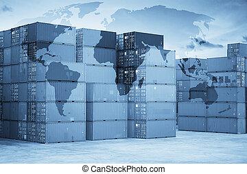 connexion, récipient, association, fret, carte, global, bateau, logistique, cargaison