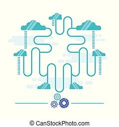 connexion, réseau, nuage, calculer