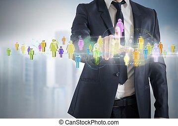 connexion, réseau, social