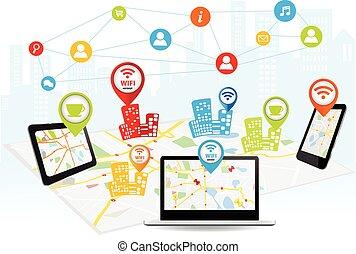 connexion sans fil, concept, technologie