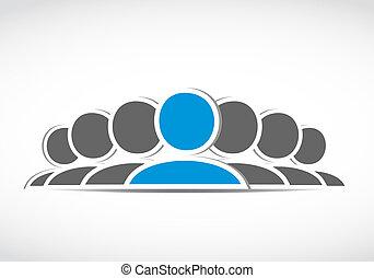 connexion, social, equipe affaires