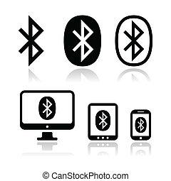 connexion, vecteur, bluetooth, s, icônes