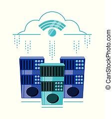 connexion, wifi, nuage, calculer