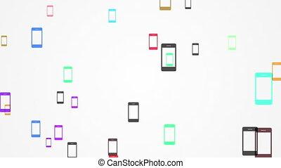 connexions, énorme, mobile, appareils, entre