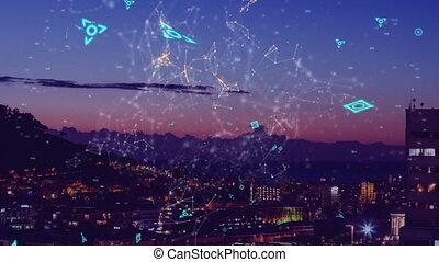 connexions, arrière-plan animation, ville