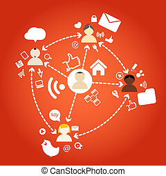 connexions, différent, nations, réseau, gens