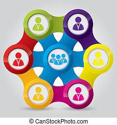 connexions, illustrer, réseau, social