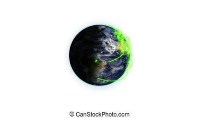 connexions, la terre, vert
