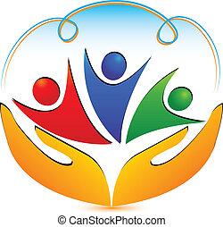 connexions, logo, mains, gens
