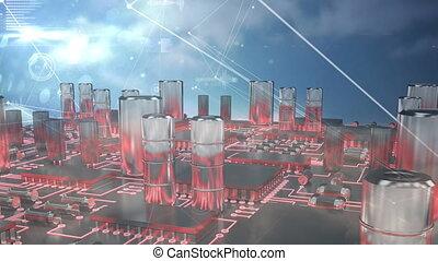 connexions, microprocesseurs, animation, sur, nuageux, il, ...