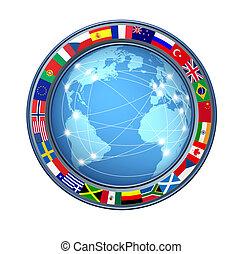 connexions, mondiale, internet