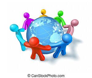 connexions, mondiale, réseau, internet
