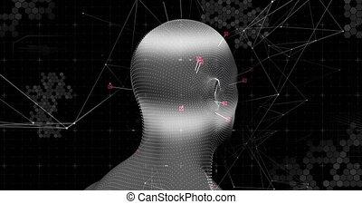 connexions, rotation, modèle, noir, contre, tête humaine, fond, réseau