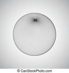 connexions, sphère, ligne, global, 3d