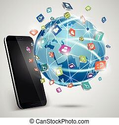 connexions, téléphones, globe, intelligent
