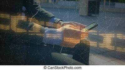 connexions, utilisation, numérique, sécurité, chaîne, personne, contre, smartphone, réseau