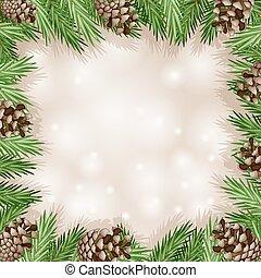 cono pino, con, rama, y, copo de nieve