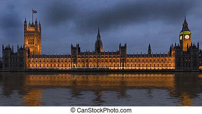 conocido, también, westminster, casas, palacio, siglo, barry, charles, augustus, westminster, localizado, 19, th, gótico neo, pugin, reconstruido, río, parlamento, style., banco