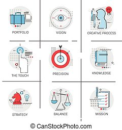 conocimiento, aprendizaje, creativo, proceso, cartera, estrategia, misión, icono, conjunto