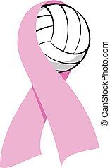 conocimiento, cinta, voleibol, rosa, cáncer